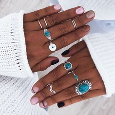 Trendy Jewelry, Cute Jewelry, Fashion Jewelry, Turquoise Jewelry, Silver Jewelry, Accesorios Casual, Statement Rings, Vintage Silver, Manicure