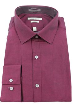 6c260c8069bd Perry Ellis Men s Burgundy Striped Long Sleeve Portfolio Dress Shirt