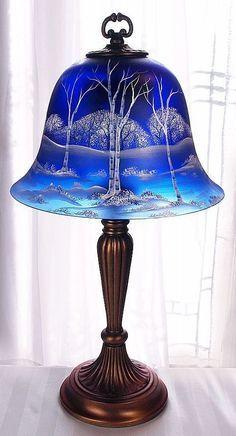 Fenton Glass White Birch on Cobalt Blue Satin 22 Bell Lamp Artist Sample VIP… Antique Lamps, Vintage Lamps, Antique Dishes, Cobalt Glass, Cobalt Blue, Fenton Glassware, Fenton Lamps, Chandelier Lamp, Chandeliers