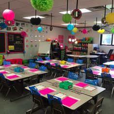 VERY creative and outgoing set up for a kindergarten classroom. Kindergarten Classroom Setup, School Classroom, Classroom Themes, Classroom Organization, Classroom Ceiling Decorations, Future Classroom, Classroom Table Arrangement, Desk Arrangements, Classroom Inspiration