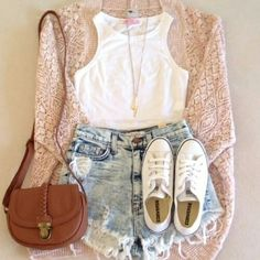 Got: brown bag, sweater. Buy: white crop top and converse, long waisted shorts.