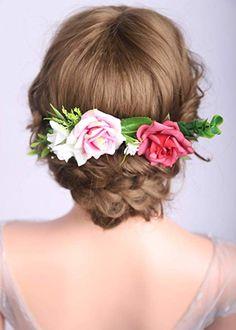 Blue Flower Hair Tie Elastic Rope Holder Hair Wedding Bridal Accessories Brooch