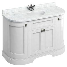 Montage Double Bathroom Vanity (Carrara/White): Includes a White Cabinet, Italian Carrara Marble Countertop, and Two Ceramic Sinks Freestanding Vanity Unit, Bathroom Vanity Units, White Vanity Bathroom, Vanity Set, Bathroom Furniture, Bathroom Ideas, Bathroom Vanities, Family Bathroom, Master Bathroom
