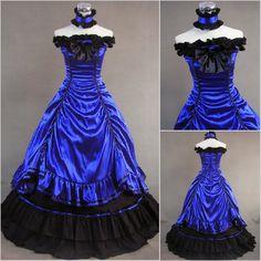 Freeship Blue satin Renaissance Victorian Gothic/Marie Antoinette/civil war/Southern Belle Ball Gown Dress US 6-26 XS-6XL V-26(China (Mainland))
