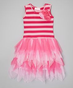 Another great find on #zulily! Hot Pink & Pink Stripe Ruffle Dress - Toddler by Popatu by Posh #zulilyfinds