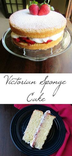 A classic Victoria Sponge filled with jam and whipped cream. This cake is perfect for tea time!