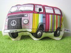 VW style camper van cushion soft toy from Crotte de bique by DaWanda.com
