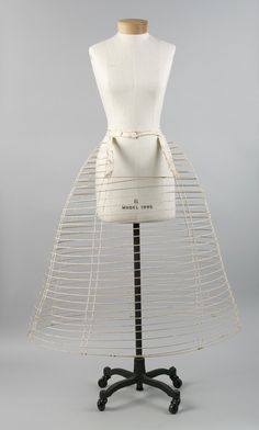 From mid 19th century Crinolines & hooped skirts were used to wear even wider skirts.