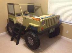 cute jeep bed... Because the kids I don't have yet, will surely love jeeps! Lol I bet I could get John to make this