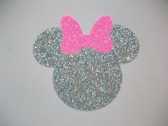 VINYL Decal - DIY Iron On - Minnie Silver Glitter w/Pink Glitter Bow - No Sew by MaggiesCastle on Etsy https://www.etsy.com/listing/496420595/vinyl-decal-diy-iron-on-minnie-silver