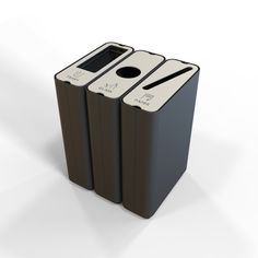 Radius recycle bin - Set of 3 Recycling Station, Trash And Recycling Bin, Trash Bins, Green Furniture, City Furniture, Workplace Design, Form Design, Garbage Can, Sustainable Design