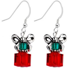 Handcrafted Holiday Present Earrings Made with SWARIVSKI ELEMENTS $8.99 #holiday #gift #earrings #christmas