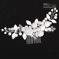 Diamond Flower Pearl Stunning Wedding Bridal Comb Headpiece Flora ...