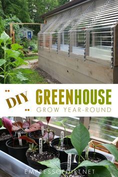 to build a lean-to greenhouse for year-round gardening.How to build a lean-to greenhouse for year-round gardening. Lean To Greenhouse, Outdoor Greenhouse, Greenhouse Growing, Greenhouse Plans, Greenhouse Gardening, Greenhouse Wedding, Cheap Greenhouse, Homemade Greenhouse, Greenhouse Vegetables