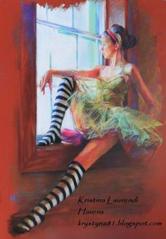 Pastel Drawing Fine Art Print - Ballerina in Striped Socks Sitting at the Window Ballet Painting, Ballet Art, Figure Painting, Pastel Drawing, Pastel Art, Ballerina Drawing, Pastel Portraits, Chalk Pastels, Figurative Art
