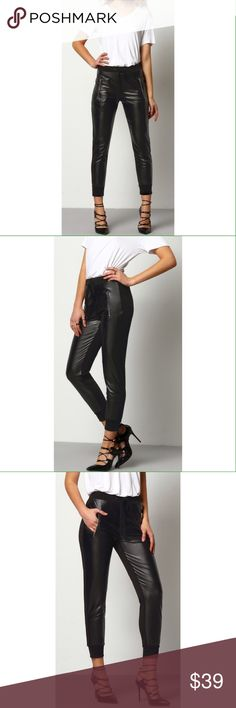 """Faux Leather Pants with Zipper Pockets These black faux leather pants are super chic! Features zipper pockets on each side in front, stretch waist with tie, stretch ankles, and a cloth material back side. Brand new, never worn.    Waist: S-25"""", M-27"""" Pants Ankle & Cropped"""
