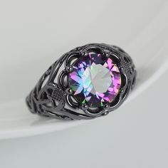 Mystic Topaz Black Gold Filled Ring - Mystical Magik