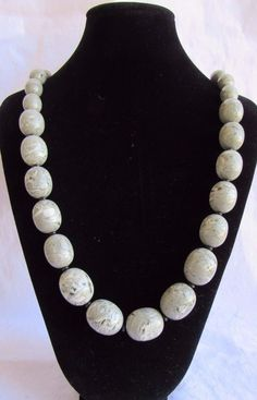 """Monet Necklace Gray Plastic Beads Swirl Marbled Gold Colored Clasp 14""""  #Monet #StrandString"""