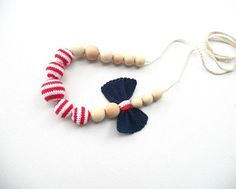 Teething necklace / Crochet nursing necklace - Marine Style Girl Jewelry - Patriotic Accessory Blue Red White $26.50