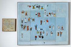 Öyvind Fahlström, The Planetarium, 1963. Ensemble de 2 panneaux. 188 formes découpées, aimantées et peintes que l'on peut orienter à son gré sur chacun des 2 panneaux. La disposition des mots sur le petit panneau détermine le choix des vêtements qui leur correspondent. Encadrement d'origine en aluminium et bois. - Grand panneau : 197 x 234 cm - Petit panneau : 57 x 57 cm Donation Daniel Cordier 1976. AM 1976-1142. © Adagp, Paris 2008.