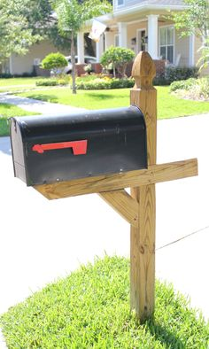 Plain to Preppy DIY Mailbox: Before this happy mailbox makeover our mailbox looked like everyone else's. Plain.#DIY #monogram #mailboxmakeover