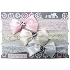 Cute baby lace headband with satin bow and diamante. Great value 3 pack. on eBid United Kingdom