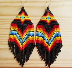 Native american beaded earrings, peyote earrings, huichol earrings, Indian style beads earrings, tribal style, boho style