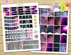Galaxy monthly kit - Printable monthly kit - Erin condren Printable Planner stickers - Monthly theme printable for Erin condren