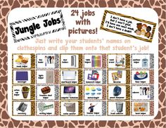 jungle jobs!  a jungle/safari themed job chart with pictures!  the set now includes 48 classroom jobs and is only $3 at TPT!