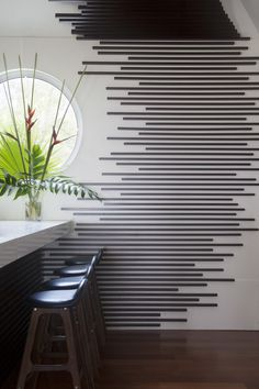 A graphic wall treatment in the Trident Hotel bar