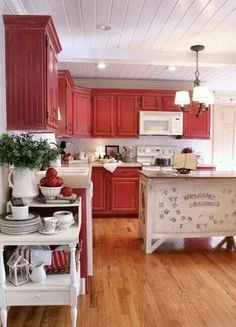 Love the red cabinets! Twice Remembered: Red Cottage / Farmhouse Style Kitchen Progress Photos and Details. Kitchen Vignettes, Rustic Kitchen Cabinets, Farmhouse Style Kitchen, Kitchen Redo, Kitchen Styling, Kitchen Remodel, Cottage Farmhouse, Life Kitchen, Kitchen Ideas