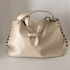 """Cream Lamarthe Ladies Leather Satchel bag😀Sale😀 This is the softest Leather, the handbag is in very good condition it does have a few little stains on the inside lining, It has a magnetic closure and a flap closure on front of the bag, Double handles with studs going down the sides!  And also has feet on the bottom of the purse. Dimensions Length 15""""  height 10.5"""" depth 6.5"""" strap drop 10""""😀😀 Lamarthe Bags Satchels"""