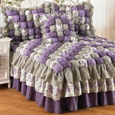 I want this puffy, frilly Caroline Puff Quilt Bedspread & Accessories for my queen-sized bed.