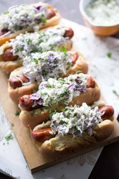 Gourmet Hot Dog Recipes: Andouille Sausage with Blue Cheese Coleslaw Blue Cheese Coleslaw, Grilling Recipes, Cooking Recipes, Gourmet Hot Dogs, Hot Dog Recipes, Chicken Recipes, Good Food, Yummy Food, Healthy Food