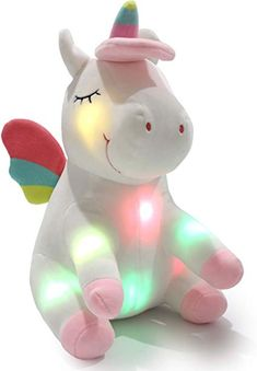 11 inches Athoinsu LED Stuffed Rabbit with Colorful Night Lights Luminous Plush Toys Glowing Bunny Gifts for Girls Granddaughter Home Decor White