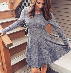 Mystree long sleeve crew neck dress with pleat detail. Paired with our favorite Douglas Paquette necklace
