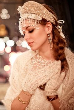 ♡ From Russia with Love ♡ Russian-style fashion photograph. A model in a kokoshnik.
