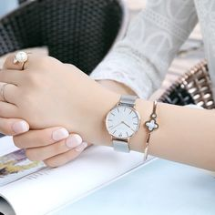 Cool watches for women who are fashion curious, this creative style silver watch is a lovely accessory. The enticing thing about this waterproof watch is the rose gold color finish that makes it a stylish pair for almost every color outfits. #coolwatchesforwomen #watchrosegold #collwatchesforwomencasual