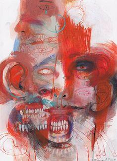 Marina González Eme on Behance Creepy Art, Weird Art, Arte Horror, Horror Art, Posca Art, A Level Art, Ap Art, Psychedelic Art, Surreal Art