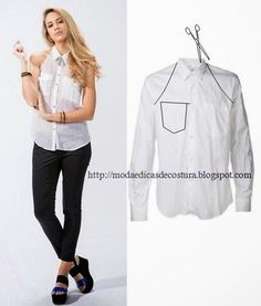 Repurpose Old Shirts into tops repurpose or restyle men's shirts into something new such as tops, dresses for ladies or family. Shirt Refashion, Diy Shirt, Diy Kleidung, Diy Vetement, Old Shirts, Refashioning, Clothing Hacks, Mode Inspiration, Sewing Clothes