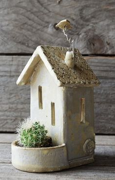 Your marketplace to buy and sell handmade items. - This delicate little house would make a nice gift. The tealight holder is made with white stoneware - Clay Houses, Ceramic Houses, Ceramic Clay, Pottery Houses, Slab Pottery, Ceramic Pottery, Clay Projects, Clay Crafts, Diy And Crafts