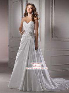 A-line Sweetheart Sleeveless Taffeta Wedding Dress #USAHSMG076
