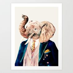 Elephant Cream Art Print by Animal Crew