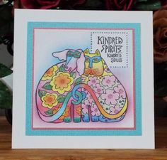 Laurel Burch Kindred Spirits stamp from Stampendous. Coloured with pencils. Julie Makela