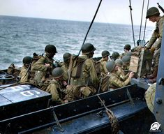 US Soldiers board landing craft in preparation for the D-Day