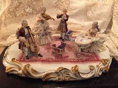 Antique Capodimonte Dresden Lace Musician Group Plateau N Crown Mark | eBay