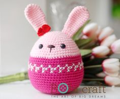 Pink BunBun | Code: WT-073PIK-L | Size: (L) 13cm x 13cm x 23cm | Weight: 110g | | Call (+84) 0836024191 to purchase. Or contact us through email info@bobicraft.co.uk Easter Toys, Easter Crochet, Easter Baskets, Happy Easter, Babys, Plush, Crochet Hats, Wool, Christmas Ornaments