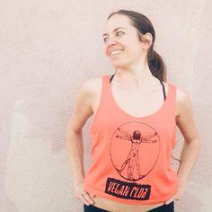 "Unisex T-shirt ""Vegan Club"" featuring Leonardo Da Vinci Vegan Fashion, Original Artwork, Organic Cotton, Athletic Tank Tops, Unisex, Club, How To Make, T Shirt, Women"