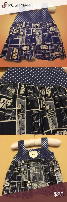 Star Wars Tilly-style top with adorable button Star Wars print. This is too stinking cute. Handmade. No tag. Fits 12-18 months. Could probably be worn from 9-18+ months. We actually did wear at 9 months. In very good condition Shirts & Tops