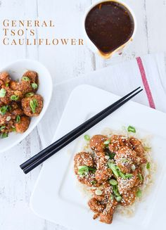 Healthier Chinese Food! General Tso's Cauliflower, a vegan, gluten-free and low fat alternative to take out. | www.delishknowledge.com